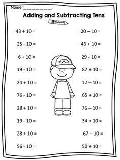 Αποτέλεσμα εικόνας για add subtract tens worksheet