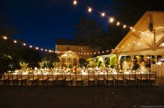 Dusk at Hawkesdene is a beautiful setting for this outdoor wedding reception.