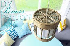DIY Brass Pendant Light and best metallic brass paint | Teal & Lime