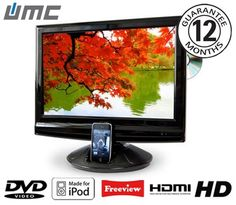 """UMC 19"""" LCD TV with DVD Player and iPod Dock"""