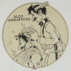 Antonio Rubino - Illustrazione Originale Per ?la Tradottà. Alzo Abbattuto.