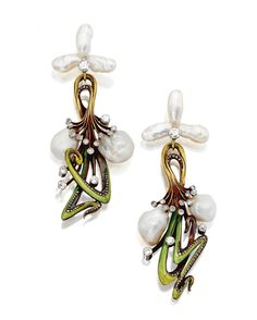 ART NOUVEAU PEARL AND ENAMEL PENDANT-EARRINGS, CIRCA 1900 designed as whiplash scrolls applied with shaded green translucent enamel, set with 4 baroque pearls and old European-cut and rose-cut diamonds, mounted in 18 karat gold, maker's mark and French assay marks, supported on freshwater pearl and diamond tops, tops not original and later added.