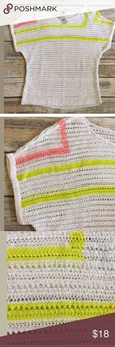 """NWT Ann Taylor Open Knit White Yellow Pink Sweater NWT Ann Taylor Open Knit White Yellow Pink Sweater S Cotton blend Hand wash Bust measures 19"""" across Length 22""""   /327/ Ann Taylor Sweaters Crew & Scoop Necks"""