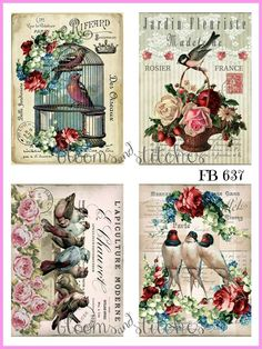 ~ Shabby Chic Vintage Spring Birds Roses 4 Prints on Fabric Quilting FB 637 ~ Vintage Birds, Vintage Tags, Vintage Labels, Vintage Roses, Decoupage Vintage, Vintage Paper, Spring Birds, Tea Art, Background Vintage