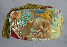 Handmade Smoking Cap - Lounging Hat - Crazy Patchwork Pure Silk Multicoloured Plus Embroidery And Beads