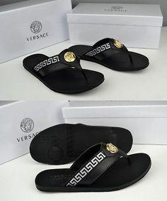 ebbe25412ef20 Sandals and Flip Flops 11504  Versace Black Slipper Men S Leather Sandals  Us Size 10 -  BUY IT NOW ONLY   126.99 on eBay!