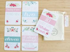 Moment and Milestone Cards - Baby Girl Floral Collection