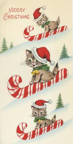 Vintage Christmas Cute Gray Tabby CAT Sledding ON Candy Cane Scrapbooking Print | eBay