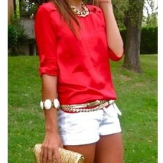 Summer color combo - white shorts, bright silk blouse