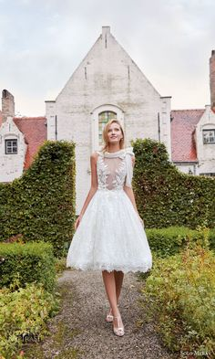 solo merav couture bridal gowns 2016 audrey short sweet wedding dress bow tie funnel neck collar delicate roses french lace illusion bodice
