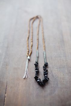 Mixed Media Boho Necklace / Black Grey SIlver Brown Necklace / Gemstone Necklace / Onyx Necklace