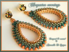 Cleopatra earrings. The beading pattern is available in italian & english version here: https://www.etsy.com/it/listing/170652132/schema-perline-orecchini-cleopatra-pdf?ref=shop_home_feat_3