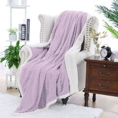Unique Bargains Plush Soft Warm Sherpa Throw Blanket for Sofa Couch Home Bedding