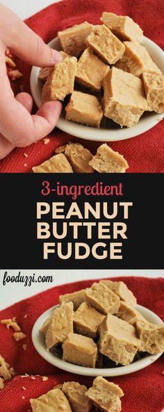 3-Ingredient Peanut Butter Fudge: the richest gluten free and vegan fudge with a healthy twist! || fooduzzi.com recipes
