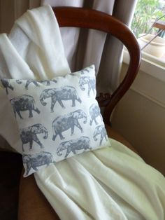 Elephant print eco friendly hypoallergenic pillow