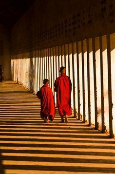 Two novice monks in the Shwezigon Pagoda, Bagan, Burma (Myanmar)