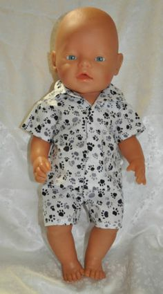 """Doll clothes for (43CM) 17"""" Baby Born doll ~Summer Pj's ~ Puppies paws"""