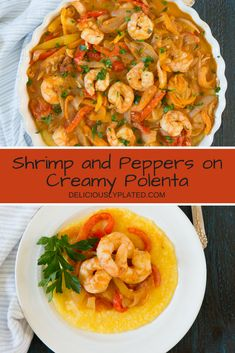 A 30-minute meal that is as impressive as it is delicious.  Full of flavor and always a crowd pleaser, you are going to love this shrimp on creamy polenta! gluten free recipes | easy dinner ideas | 30 minute recipes via @leslie9612