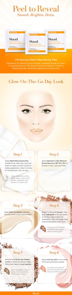 """Add Murad's new Rapid Resurfacing Peel to your daily skincare routine, easily packaged for your on-the-go lifestyle. Textured towelettes allow for targeted application of active ingredients and removal of surface cells exposed to toxic pollutants that have accumulated throughout the day. Instantly retexturize your skin, enhance radiance, and even skin tone without irritation using Dr. Murad's renowned glycolic anti-aging treatment. Get this """"Glow On-The-Go"""" day look in six easy steps!"""