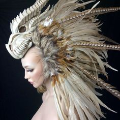 MADE TO ORDER Dragon Warrior feather mohawk headdress headpiece tribal fantasy Larp cosplay Dragon Warrior, Mode Costume, Headgear, Larp, Costume Design, Wearable Art, Character Inspiration, Style Inspiration, Beauty