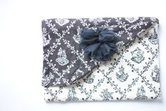clutch // black and white toile with tulle flower poof