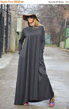 Dark Grey Long Dress Plus Size Clothing Kaftan Loose Dress Winter Party Dress Extravagant Dresses for Women by SSDfashion Tesettür Hırka Modelleri 2020 Abaya Fashion, Boho Fashion, Fashion Dresses, Plus Size Black Dresses, Plus Size Outfits, Mode Abaya, Quoi Porter, Muslim Dress, Moda Emo