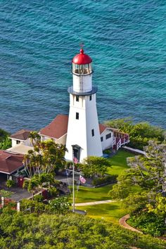 Diamond Head Lighthouse, Hawaii - Added to the National Register of Historic Places in 1980, the lighthouse is no longer manned but continues to keep vigil warning ships of the dangerous reefs around Diamond Head #travel #hawaii #oahu #islands #lighthouse