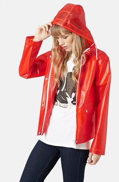 Topshop+'Bongo'+Hooded+Plastic+Raincoat+(Brit+Pop-In)+available+at+#Nordstrom