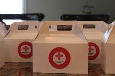 Medical Theme Party Food Service - Purchased white treat boxes from Michaels…