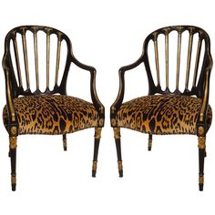 1stdibs - A Pair of Black & Gilt Sheraton Style Armchairs explore items from 1,700  global dealers at 1stdibs.com