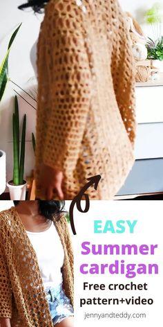 Crochet Cardigan Pattern, Crochet Shawl, Blanket Crochet, Diy Crochet Top Pattern, Free Pattern, Pattern Sewing, Beginner Crochet Projects, Crochet For Beginners, Easy Knitting Patterns