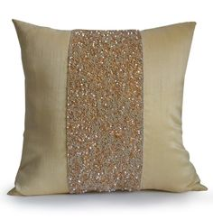 Beige Beaded Beige Silk Pillow Covers Sparkle Cushions