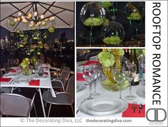 Urban Rooftop Dining Party Idea | The Decorating Diva, LLC