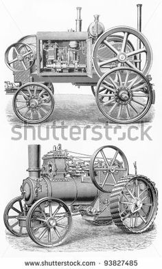 Vintage traction steam engine tractors from the beginning of 20th century - Picture from Meyers Lexicon books collection (written in German ...