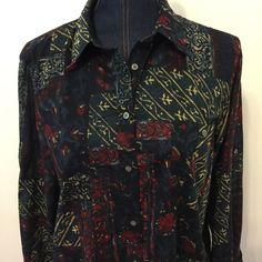 Lauren Ralph Lauren Womens Printed Pattern Button Down Shirt Size Extra Large XL #LaurenRalphLauren #ButtonDownShirt #Casual