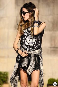 Studded bracelets and a Ramones tee make for the coolest of rocker looks.