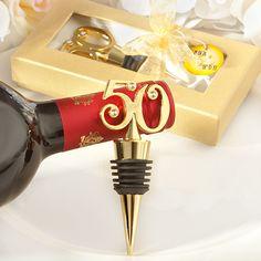 Golden-50 Wine Bottle Stoppers at www.WeddingFavors.org