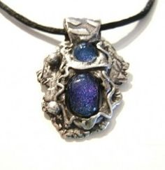 Antiqued Precious Metal Clay with Two Deep Blue by JoanJewels, $137.00