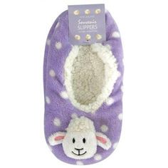 Socks Slippers Sheep Lilac SMA pair of ballet style flats slippers. These super soft slippers have a fleece type inner with a polar fleece type upper. They also have the non slip rubber dots on the sole. Very soft and would keep your feet toasty warm.