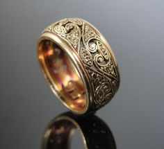 RESERVED Outstanding Retro Gold Filigree Wide Wedding Band RGBD221D