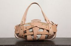 Leather Handbags Handmade Woman Large Bag Nude Color  Fine leather  Original design Purse