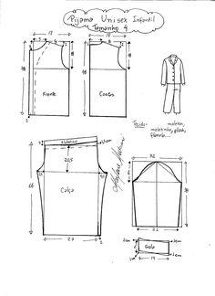 Esquema de modelagem de pijama ou abrigo infantil tamanho 4.