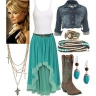 """I love the colors! Not a huge fan of the hi-low skirt. Would prefer it just below the knee. polyvore outfits 