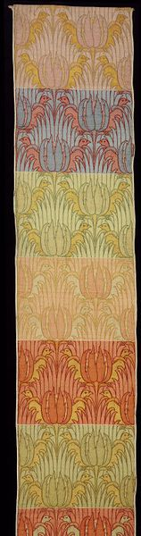 Tulip and Bird |Object: Sample  Place of origin: Great Britain, United Kingdom (made)  Date: ca. 1897 (designed)  Artist/Maker: Voysey, Charles Francis Annesley, born 1857 - died 1941 (designer)  Alexander Morton & Co. (designed for)  Materials and Techniques: Silk and wool double cloth