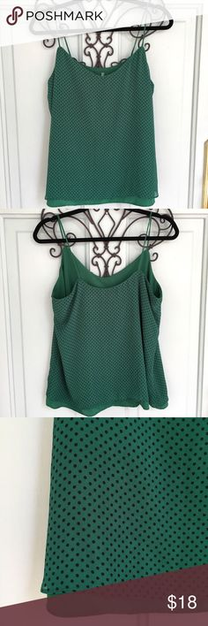 New York and Company Green Tank With Black Dots New York and Company Green Tank With Black Dots. Great condition. Perfect for pairing with a black cardigan and some heels this fall and winter! Make me an offer:) New York & Company Tops Blouses