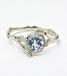 Women's Fashion Fine Jewelry Bittersweets Ny Twig Ring With Aquamarine