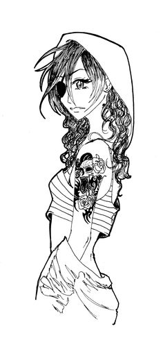 tatto girl lineart by DoICrossYourMind on @DeviantArt