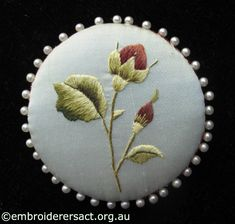 Thread Painting Rose Pinwheel by Evelyn Foster - Embroiderers' Guild ACT