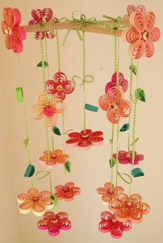 Items similar to Baby Mobile - Crib Mobile - Quilling Crib Mobiles Girl - Blossom Mobile - Quilled Floral Mobile - Mobile Flowers - Pink Mobile - Mobils , on Etsy Quilling Paper Craft, Quilling Flowers, Quilling Patterns, Quilling Designs, Paper Quilling, Paper Flowers, Paper Crafts, Drawing Flowers, Paper Art