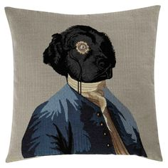 For a quirky, fun decor, opt for the CHARLES cushion which features a dog dressed in a suit from bygone years. This cushion would be perfect to add a little fantasy to your traditional interior. Beige Cushions, Printed Cushions, Peacock Print, Retro Stil, Dog Dresses, Soft Furnishings, Dog Bed, Black Metal, Pink And Gold